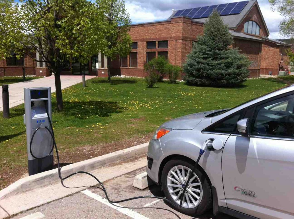 The new charger at the town hall in Carbondale. It was among those subsidized by federal dollars administered through the state government. Photo/Clean Energy Economy for the Region, Garfield County